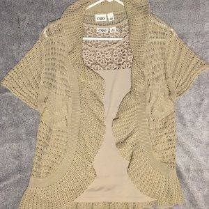 Cato Beige Two-Piece Tank and Cardigan Set Size L